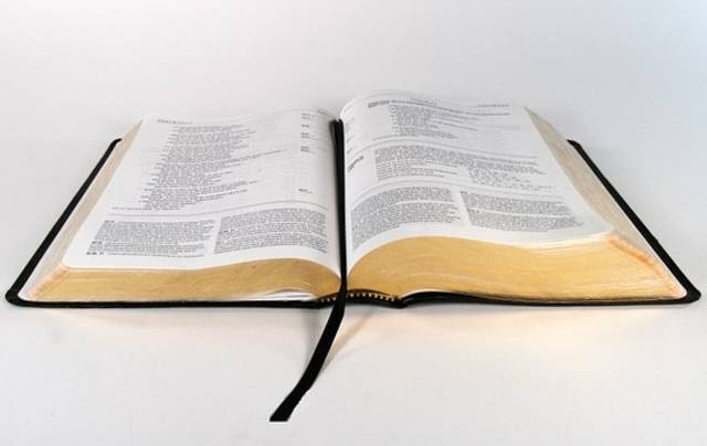 Auf dem Bild ist eine aufgeschlagene Bibel zu sehen.